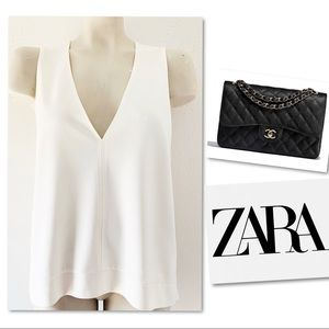 ZARA OFF WHITE V NECK TUNIC SZ M